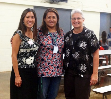 "Sen. Shimabukuro, WIS Principal Raechelle Fabrao, and Rep. Jordan at ""Defend Waianae"" 7/18/13. Click to enlarge."