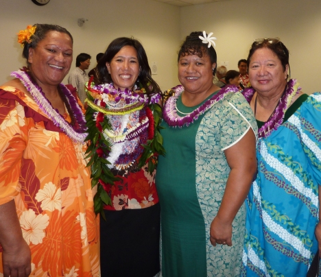 "Jocelyn ""Kana"" Keli`ikoa-Pua, Maile, Kapua Keli`ikoa-Kama`i, and Ruby Maunakea."