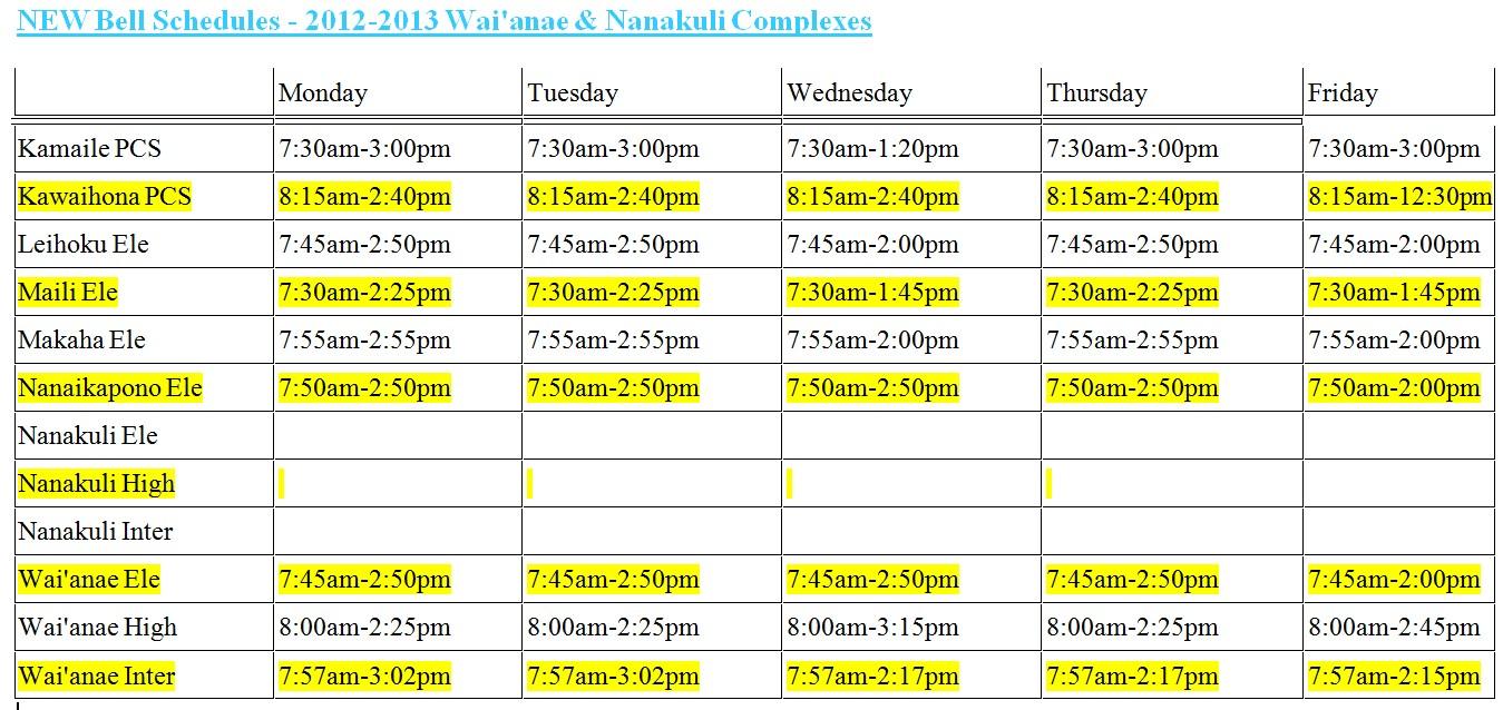 Hawaii DOE Official School Calendar & Bell Schedule 2012-2013 | Maile ...