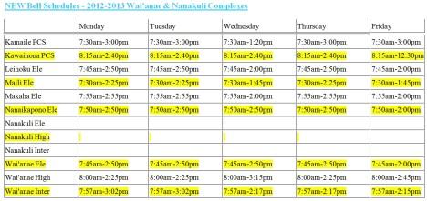 Hawaii Doe Official School Calendar Bell Schedule 2012 2013
