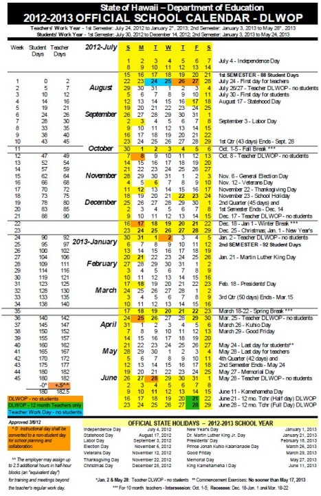 Hawaii Doe Official School Calendar Bell Schedule 2012 2013