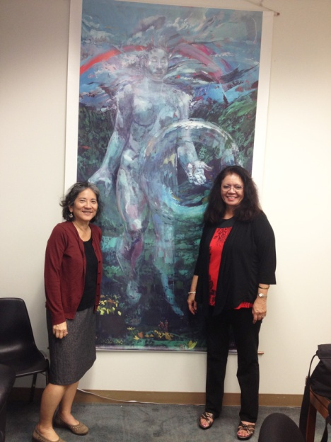 On 1/29/13, Leeward Community College (LCC) professors visited Sen. Shimabukuro and other legislators seeking support for plan and design funds for a Native Hawaiian Center for Excellence at LCC's Pearl City campus. Professor Eiko Kosasa (left) and Associate Professor Momi Kamahele posed in front of a painting by Makaha-born artist Solomon Enos in Maile's office. Prof. Kamahele teaches history and Hawaiian Studies at LCC and is a resident of Wai'anae Valley Homestead.