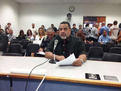 Waianae resident Frank Ruiz testified before the Senate Water and Land Committee.