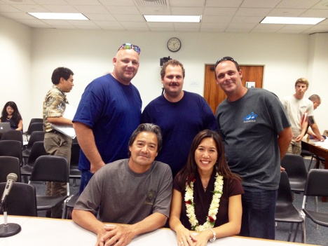 Fishermen from the Wai'anae Coast expressed opposition to bans on aquarium fishing and on the use of synthetic nets.  Back row, L-R: Jerry, Johnny, and Kelly Isham.  Front row: Bobby Goodwin and Sen. Maile Shimabukuro.
