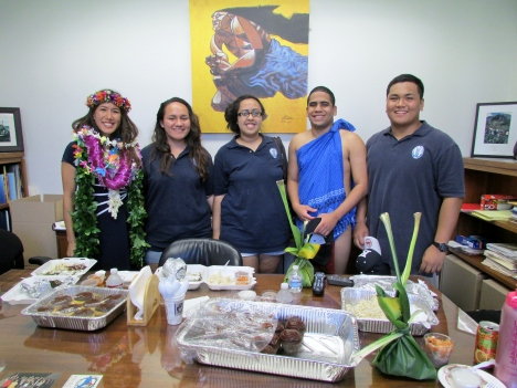 Kamehameha Schools students from the Wai`anae Coast brought Maile pa`i `ai (hand-pounded undiluted poi) that they made on Opening Day under the guidance of Maile's nephew, Daniel Anthony of Mana 'Ai, and her step-brother, Vince Dodge of 'Ai Pohaku, and others.  L-R: Lahela Paresa, Leila Kila, Jacob Aki, and Devin Horswill.