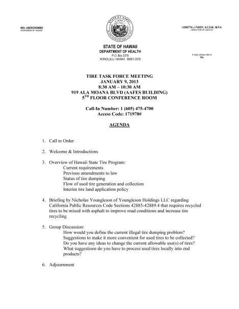 Tire Task Force Agenda 01-09-13f