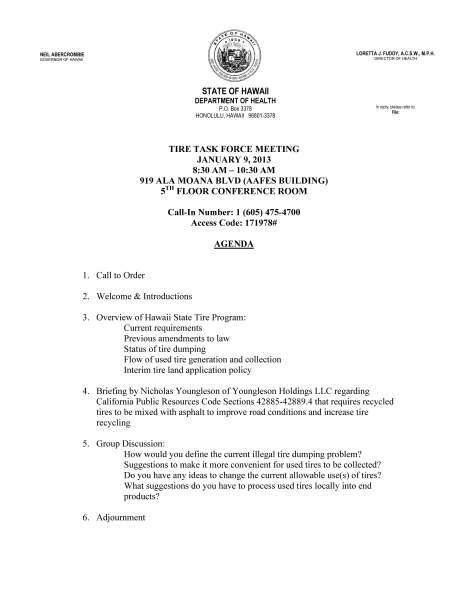 Tire Task Force Agenda 01-09-13f