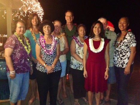 On 1/8/13, Sen. Shimabukuro installed the 2013 officers of the Wai`anae Hawaiian Civic Club.  L-R:  Rochelle Kawelo, 1st VP; Amy Zizzi, Secretary; Mele Worthington, Pelekikena (President); Stephanie Kawelo, 2nd VP; Thomas Zizzi, Director; Janmar Gonzalez, Treasurer; Senator Maile Shimabukuro; Bob Frosch, standing in for George Kawelo, Jr, Director; and Noe Barber-Balalio, Director.