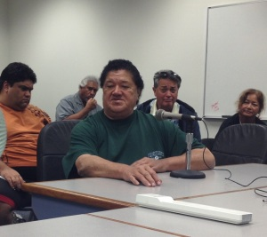 On 2/13/13, Kimo Saffrey Tripp spoke against a bill that would have relocated Native Hawaiian bones whose origin is unknown to Kaho'olawe.After hearing from Tripp and others, the Senate Tourism & Hawaiian Affairs Committee deferred the measure indefinitely.