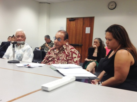 Peter Apo (center), former State House Representative for the Wai`anae Coast, now serves as Trustee and Vice Chair of the Office of Hawaiian Affairs (OHA). Apo testified on the OHA budget before the Senate Tourism and Hawaiian Affairs Committee on 3/20/13. Here is a link to HB222:http://www.capitol.hawaii.gov/measure_indiv.aspx?billtype=HB&billnumber=222&year=2013