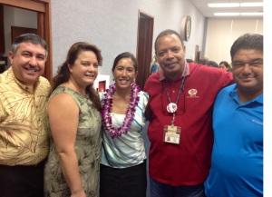 Photo caption: HGEA executive director Randy Perreira, HGEA staff & Nanakuli resident Erika Liashenko, Sen. Maile Shimabukuro, and HGEA employees from the Waianae Coast.