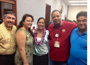 Photo caption: HGEA executive director Randy Perreira, HGEA staff & Nanakuli resident Erika Liashenko, Sen. Maile Shimabukuro, and HGEA employees from the Waianae Coast.