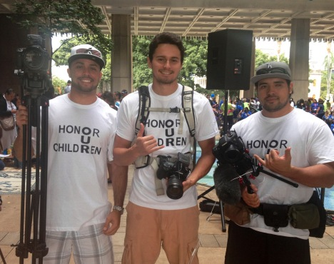 INPEACE digital storytellers Solomon Alfapada, Nick Smith, and Chad Brown documented the FACIL rally.