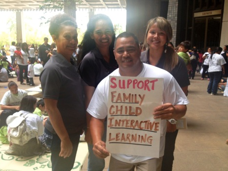 Back row: Ka Pa'alana staff Dolly Naeole, Lehua Lemalu, and Jessie Kamakura. Front row: Ka Pa'alana parent Noah Miller.