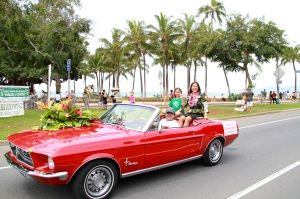 Maile and her boyfriend's daughter, Jaedyn Kim-Sakoda, were driven by Don Machado in his classic Mustang convertible.