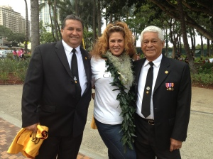 Parade coordinator and Makaha Hawaiian Civic Club member Lu Faborito (center), posed with Ray Elsey, Jr. (Left) of Makaha, member of the Royal Order of Kamehameha Chapter 1, and Ali'i Sir Ace Kaleohana (right) of the Kapuaiwa Chapter of the Royal Order of Kamehameha