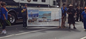 The Wai'anae Hawaiian Civic Club featured the E Ala Voyaging Canoe in their parade banner.