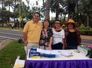 Kainoa Daines, Emcee; Luana Sala, Check In & Hospitality; Emily Auwae & Frances Ah Nee, Makaha Hawaiian Civic Club members