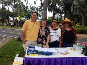 Kainoa Daines, Emcee; Luana Sala, Check In & Hospitality; Emily Auwae & Frances Ah Nee, Makaha Hawaiian Civic Club members