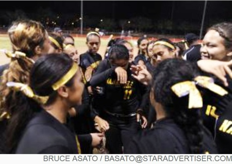 Star-Advertiser: Nanakuli's Alexis Paulo-Meyers wipes tears from her eyes surrounded by her Nanakuli teammates after they won the OIA White Division Softball Championship by beating Kaiser at the Central Oahu Regional Park.