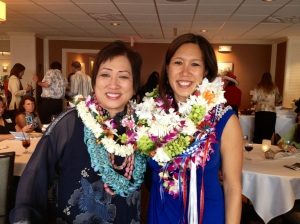 Congresswoman Colleen Hanabusa (left) congratulated Maile (right) for receiving the Outstanding Woman Lawyer of the Year award.