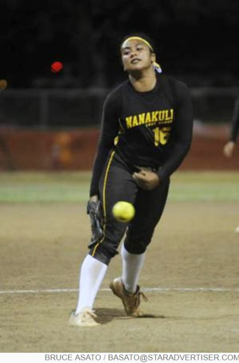 Star-Advertiser:  Nanakuli's Emma Kawaiaea comes in as reliever in the 7th inning of the OIA White Division Softball Championship at the Central Oahu Regional