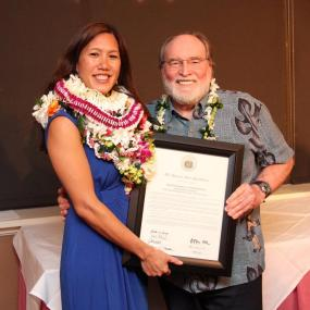 Maile with Governor Abercrombie