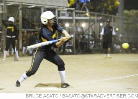 Star-Advertiser: Nanakuli's Keanani Chai hits an RBI single in the 7th inning of the OIA White Division Softball Championship with Kaiser facing Nanakuli at the Central Oahu Regional Park.