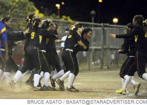 Star-Advertiser: Nanakuli's softball team celebrate after they won the OIA White Division Softball Championship by beating Kaiser at the Central Oahu Regional Park.