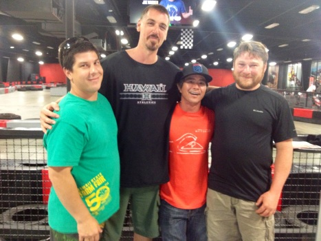 Podium Raceway features public indoor electric kart racing.  Waianae residents enjoyed the raceway; L-R: Paul Kepka, Robin Fields, Derrick Kiyabu, and friend.