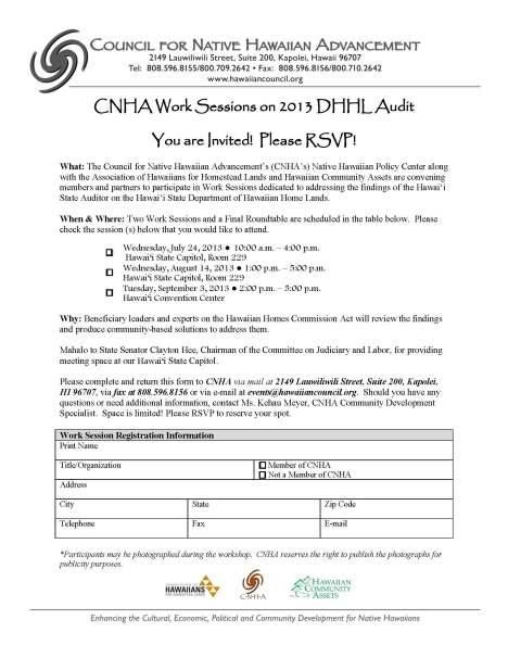 Registration Form. Please complete and submit to CNHA.