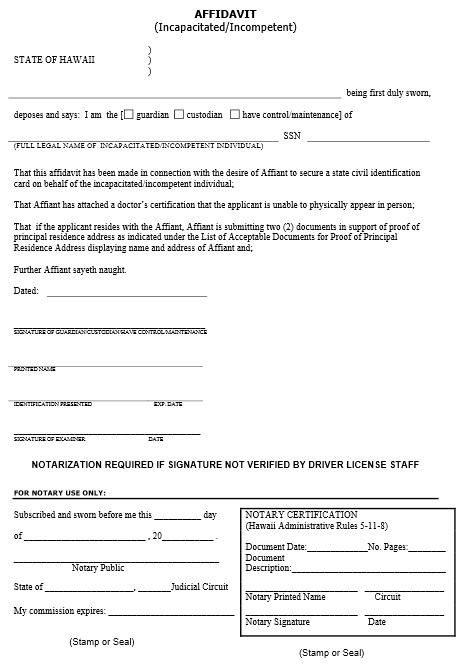 Affidavit - click image for the actual form.