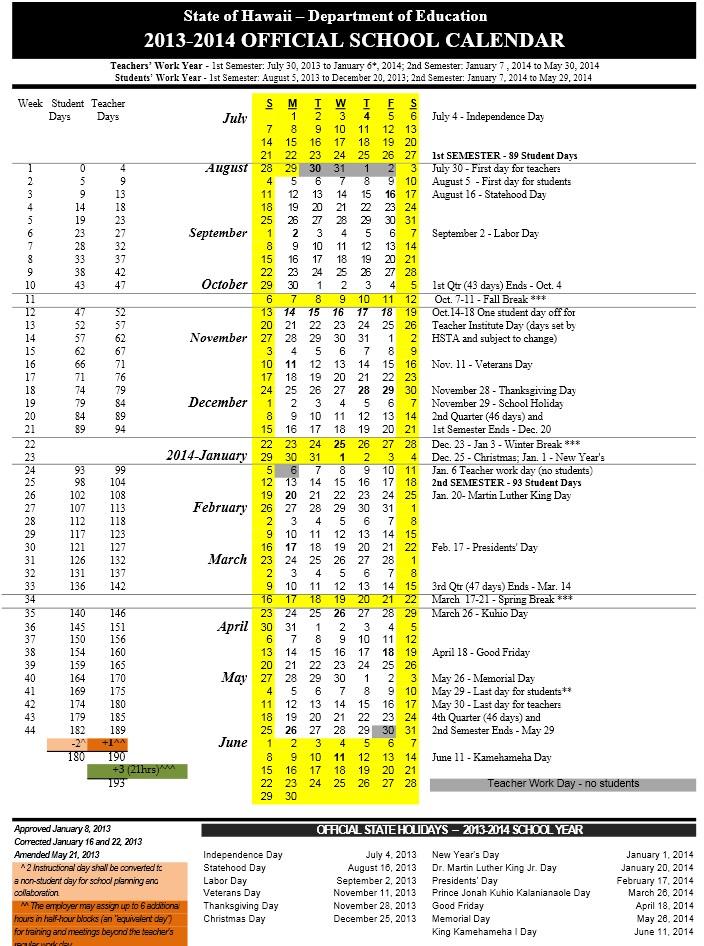 "School Year Calendar Nyc : Search results for ""doe calendar hawaii"