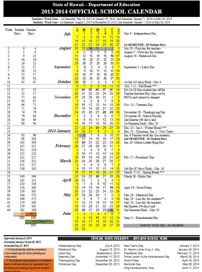 Hawaii DOE Official School Calendar 2013-2014 | Maile's District 21