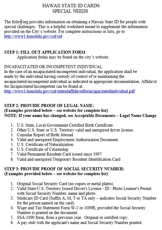 Hawaii State ID Cards for Special Needs – FORMS   Maile's District ...