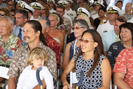 Shayne Sakoda & son Tyce Sakoda with Sen. Maile Shimabukuro at the Change of Command Ceremony.