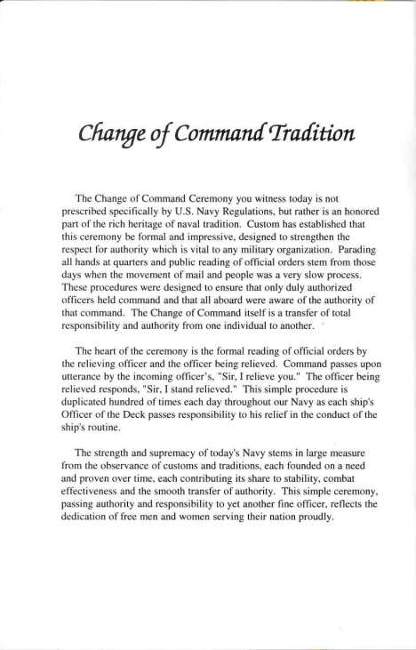 Change of Command Tradition