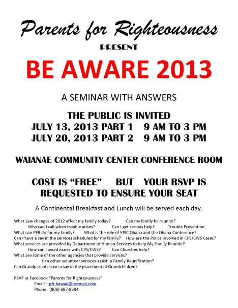 PFR Be Aware 2013 Flyers