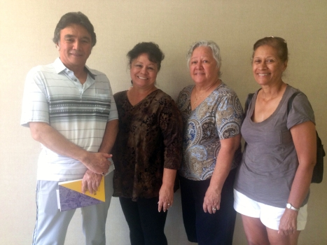 On 8/22/13, Sen. Shimabukuro met with concerned Nanakuli residents who support constructing cement median barriers along Farrington Highway in Nanakuli and Honokai Hale, and eventually along the entire Waianae Coast. L-R: Clinton and Elizabeth Coelho, Katherine Frederick, and Wanda Holi.