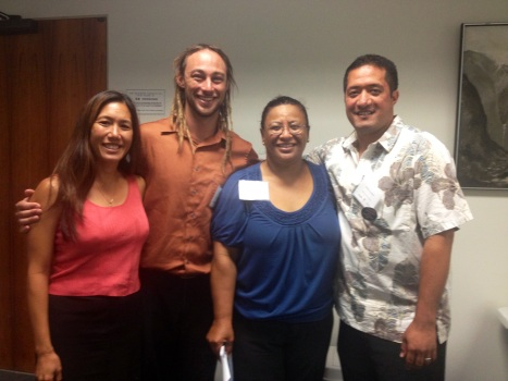 Several Wai'anae Coast residents and advocates are participating in the DHHL Roundtable Meetings.  L-R: Sen. Shimabukuro, Hawaiian Affairs Committee Chair; Jeff Gilbreath, Executive Director of Hawaiian Community Assets; Germaine Meyers, Nanakuli Hawaiian Homestead resident; and Hanalei Aipoalani, Nanakuli. Maili Neighborhood Board member; Erlene Lucero and others with Wai'anae Coast ties are also participants.