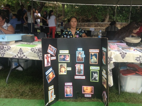 The fair featured educational games and displays such as this one focused on immunization shots.
