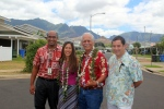 On 8/23/13, Senators Mike Gabbard and Maile Shimabukuro toured DHHL's Kaupuni Village, the nation's first net-zero energy affordable housing project, located in Waianae.   L-R: Kamana'o Mills (DHHL), Sen. Shimabukuro, Sen. Gabbard, and Chad Johnston (Hunt Building Company, Ltd.)