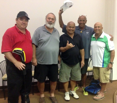 L-R, golfers James Fernandez, Lui Faleafine, Jr., Jerome Pave, Bruce DeSoto, and Anthony Guerrero (who co-emceed the event along with Keoni Ford).
