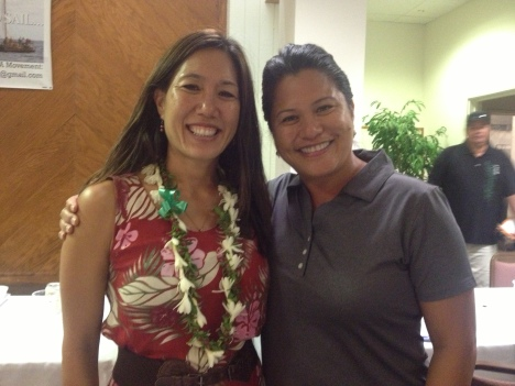 Sen. Shimabukuro (left) posed with Kapiolani Barber, niece of Gege Kawelo and Executive Director of Nanakuli Housing Corporation.