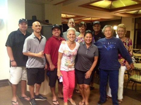 Members of the Kawelo 'Ohana at the inaugural Gege Kawelo Memorial Golf Tournament to benefit the E Ala Voyaging Canoe on 11-15-13 at the Makaha Valley Country Club