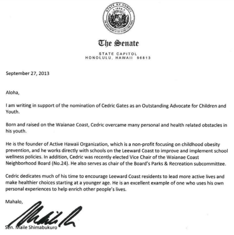 Letter of recommendation written by Sen. Shimabukuro.