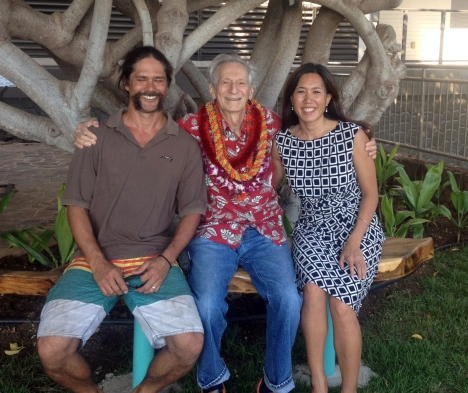 On 1/21/14, Waianae Coast Comprehensive Health Center (WCCHC) dedicated a beautiful courtyard in honor of Dr. Fred Dodge and Dr. Terry Claggett.  L-R: Shayne Sakoda, Dr. Fred Dodge, Sen. Shimabukuro.  (Dr. Dodge is Sen. Shimabukuro's stepfather). Click image to enlarge.