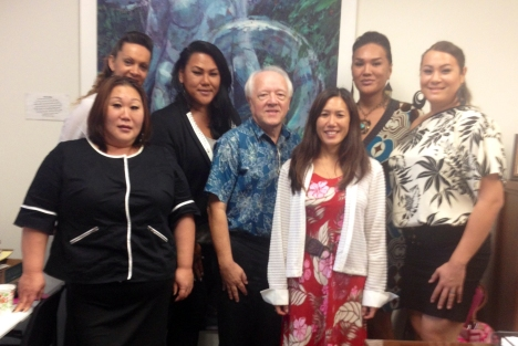 From left to right: Stacia Ohira (in front), Kieva Cadena (behind Stacia), Cathy Kapua (who resides in Waianae), Executive Director Paul Groesbeck, Senator Maile Shimabukuro, Maddie Sesepasara (Waianae High School graduate), and Gia Pacheco.