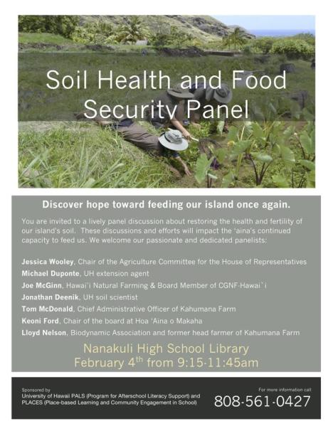Soil Health and Food Security Panel flyer. Click image to enlarge.