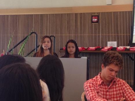 Student speakers Laumanu'uli Taukolo and Sadirah Montero